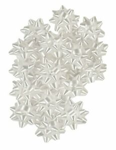 100 Metallic White Star Bows for Gift Wrapping Holiday Christmas Party Bow