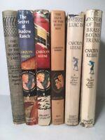 6 Nancy Drew Dana Girls Carolyn Keene Orange Brown Black End Pages White Spines