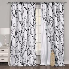 One Black White Window Curtain Panel: Tree Branch Design, Double Layered, 54x84