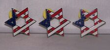 Patriotic Star of David American Flag Pin 4th of July Stars & Stripes Set of 3