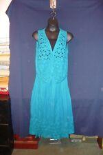 ELLEN RICHMAN Teal Turquoise Cross Stitch Flowers with Button Vest & Skirt Sz XL
