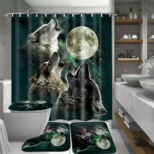 4pc. Howling Wolves Shower Curtain & Rugs Set