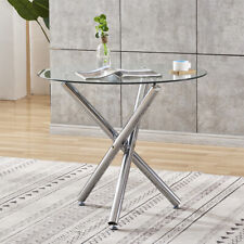 Glass Coffee Table Breakfast Dining Table Glass Top Metal Leg Home Furniture New