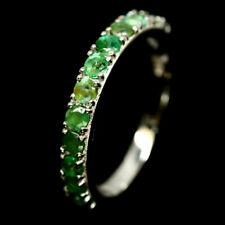 NATURAL GREEN EMERALD RING 925 STERLING SILVER SIZE6.75