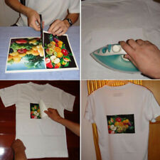 10x iron-on heat transfer sheets light fabrics t-shirt printed blank A4 paper OI