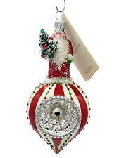 New ListingPatricia Breen Vintage Claus Holiday Stripe Orb Reflector Christmas Ornament