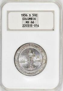 1936-S Columbia Commemorative Half Dollar : NGC MS66