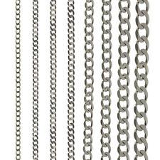 Cadena en Plata de Ley 16 18 20 22 24 30 Plano Enlace Collar Pulsera Regalo Caja
