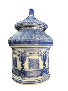 Vintage Blue and White Porcelain Chinoiserie Cookie Jar Pagoda Oriental