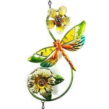 Metal Dragonfly Windchime Rustic Flowers Bell Color Beads Outdoor Indoor Euc