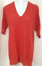 Eileen Fisher Red Orange Organic Thin Sweater L Large V Neck Asymmetrical Dolman
