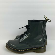 Dr Martens Patent Leather Lace Up Boots Air Wair Charcoal Grey 1460W Womens 8