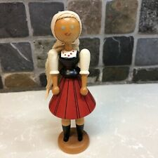 Vintag Wooden Polish Clothed Girl Doll Handpainted /A5