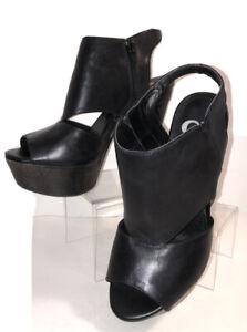 "Gianni Bini Size 8 M Black Leather Peep Toe 5"" High Heels Ankle Booties Boots"