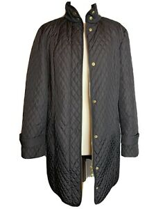 Country Casuals Ladies Black Quilted Light Weight Coat Size 12 (J3)