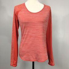 Women's ATHLETA Long Sleeve Exercise Shirt Medium Orange Thumb loops