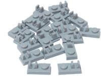 LEGO - 20 x Platte 1x2 mit Clip oben hellgrau / 92280 NEUWARE
