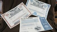 Set of 1-Pan Am, 2-Pan American World Airways Stock Certificates Airline Stocks