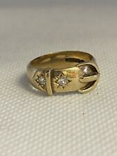 9ct Yellow Gold Buckle Ring With Spinels 1966 4.9g