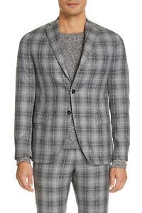Eidos Napoli Deven Trim Fit Plaid Cotton Blend Sport Coat Side vents 52R $1,295