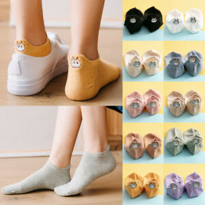 Cartoon Cat Embroideried Short Cotton Women Summer Casual Ankle Boat Socks Thin