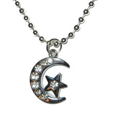 Gothic Witch Moon w/ Star Silver Plated Real Crystals Pendant Charm Necklace