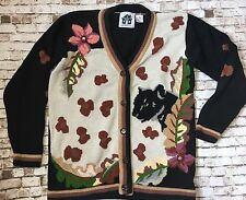Storybook Knits Women Small S Black Panther Jungle Cat V Neck Cardigan Sweater