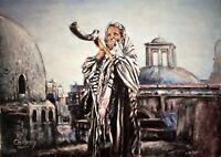 "Original oil painting Jewish Art ""The Shofar calls"" signed canvas 18x24"