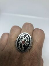 Vintage Silver White Bronze Size 12.75 Men's Stone Inlay Scorpion Ring