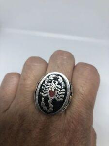 Vintage Scorpion Men's Ring Silver White Bronze Stone Inlay Size 8.5