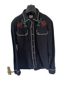Levis Vintage Clothing Shirt Black Rodeo Rockabilly 1950s Size Large