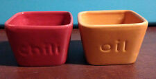 "Chili and Oil Square Ceramic Dipping Bowls 3"" X 3"" X 2"" Orange and Red"