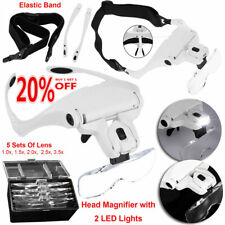 Head Magnifier with 2 LED Lights Magnifying glass hands free LED Lamp Headband Q