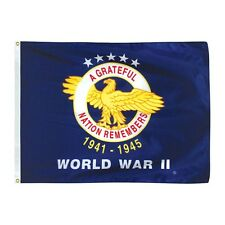 WORLD WAR II Military Flag A Grateful Nation Remembers 3x4 ft Nylon Made in USA