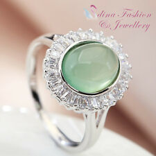 18K White Gold Plated Semi-Precious Stone Oval Cut Elegant Light Emerald Ring