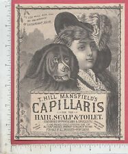 A012 T. Hill Mansfield Capillaris Hair medicine x-large trade card Portland, ME