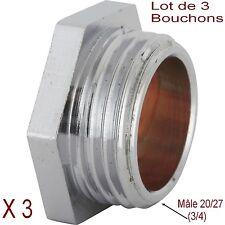 Lot de 3 Bouchons en Laiton Chromé,Filetage Mâle 3/4 (20/27) Tuyaux,Plomberie