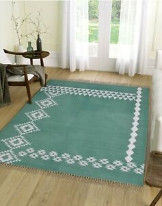 Serene Sea Green Rug   100% Cotton and LIVING ROOM Rug with Modern Design 4x6ft