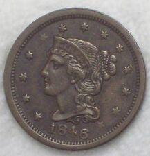 1846 Braided Hair Large Cent FULL RIMS AU Detailing Pre-Civil War Authentic 1C