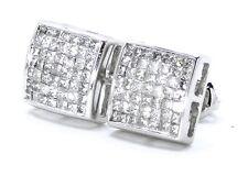 Mens Ladies 14K White Gold Bezel Princess Cut 8 MM Diamond Stud Earrings .85 Ct