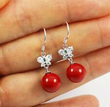 Pretty Solid 925 Sterling Silver. Butterfly,Red Coral Dangle / Drop Earrings
