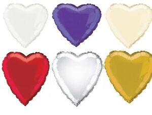 HEART SHAPED 18 INCH FOIL BALLOON FOR HELIUM PICK YOUR COLOUR  IDEAL WEDDING