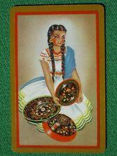 Pretty Latina Senorita with Pottery Bowls Vintage 1940's Swap Playing Card MINT!