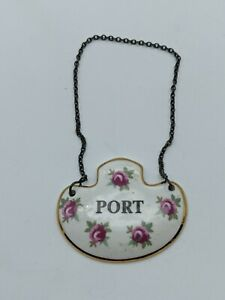 Royal Adderley Floral Decanter Label Port Bone China Made in England Chain Hang
