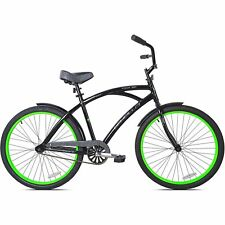 "MEN'S CRUISER BIKE 26"" ALUMINUM FRAME CITY BEACH BICYCLE  BLACK GREEN"