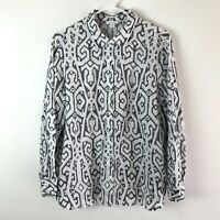 J. Jill Linen Button Front Shirt Women's Size Medium Petite White & Black