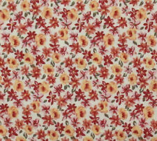 Tiny Yellow Red Flowers Lawn Cloth Calico Fabric Lightweight Cotton Floral BTY