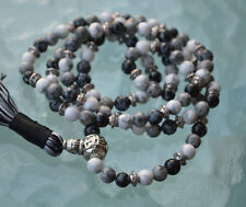Snowflake Obsidian Howlite & Black Onyx 108 Mala Beads Necklace for Menopause, G