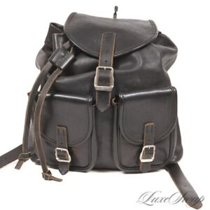 QUALITY Anonymous Rugged Leather Black Unlined Backpack Rucksack Day Bag NR