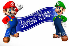 Super Mario Bros Room Decor -  Wall Decal Removable Sticker CUSTOM NAME